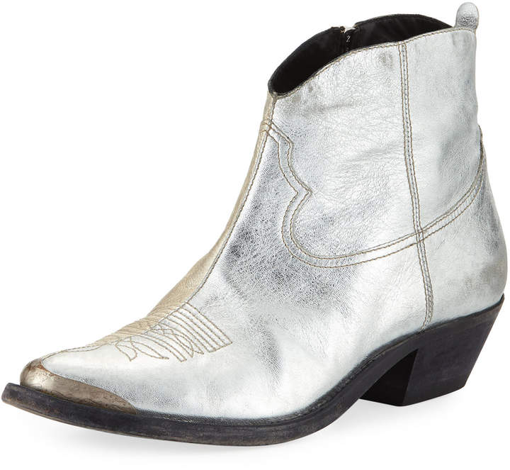 Golden Goose Young Dual-Tone Metallic Leather Ankle Boot