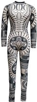 VIVOSKY Women Jumpsuits Tribal Tattoo Printed Dumpsuit Sexy Bodysuit Playsuit