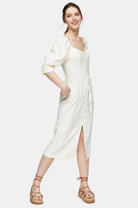 Topshop Womens White Linen Blend Puff Sleeve Midi Dress - White