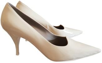 Celine Soft V Neck Ecru Patent leather Heels
