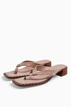 Topshop VERSE Blush Pink Leather Mule Sandals