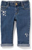 Old Navy Floral-Embroidered Skinny Boyfriend Jeans for Baby