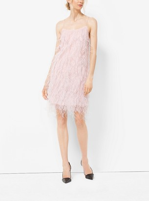 Michael Kors Ostrich Feather-Embroidered Chantilly Lace Slip Dress