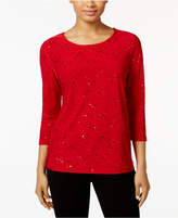 JM Collection Sequined Jacquard Top, Created for Macy's