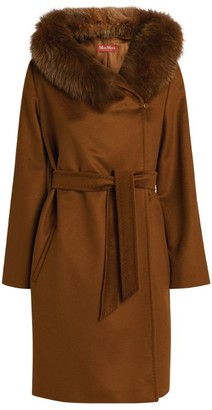 Max Mara Fox-Trim Mango Coat