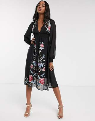 Asos Design DESIGN embroidered long sleeve button through midi dress with shirred waist-Black