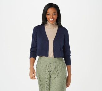 Isaac Mizrahi Live! 3/4 Sleeve Cropped Button Front Cardigan