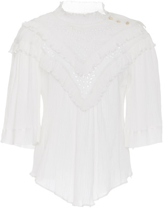 Etoile Isabel Marant Idoa Ruffled Broderie Anglaise Cotton-Blend Blous