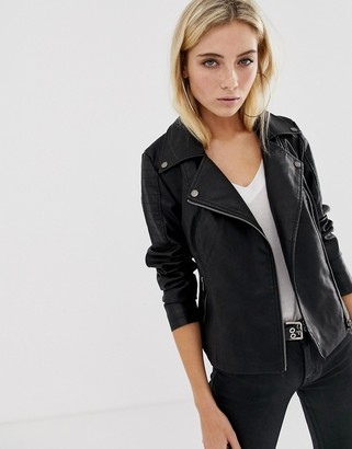 Noisy May leather look jacket in black