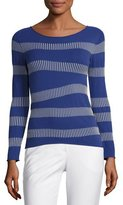 Armani Collezioni Irregular-Stripe Long-Sleeve Sweater, Blue Violet