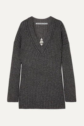 Alexander Wang Dream Catcher Embellished Cutout Ribbed Wool-blend Sweater - Black