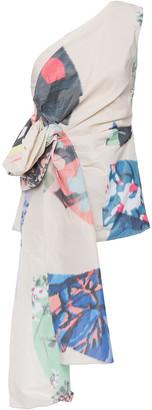 Roksanda One-shoulder Draped Printed Faille Top