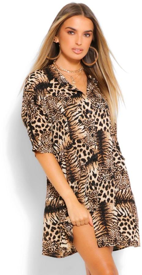 boohoo Animal Print Button Through 3/4 Smock Dress