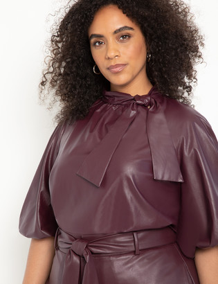 ELOQUII Faux Leather Bow Blouse with Puff Sleeve