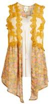 Self Esteem Clothing clothing Women's Dresswear Vests Golden - Golden Glow Floral Crochet-Detail Vest & White V-Neck Tank - Women