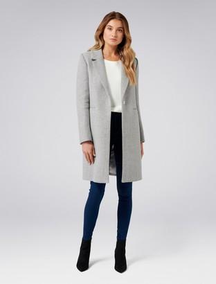 Forever New Morgan herringbone coat - Grey Herringbone - 4