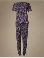 M&S Collection Cotton Rich Floral Print Short Sleeve Pyjamas
