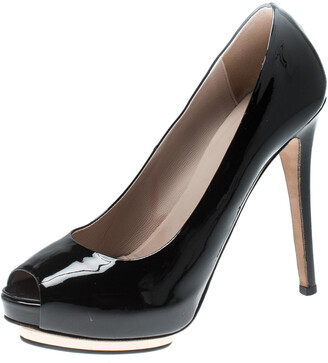 Le Silla Black Patent Leather Peep Toe Platform Pumps Size 38