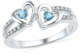 1/20 CT.T.W White Diamond & Blue Topaz Prong Set Double Heart Ring in Sterling Silver