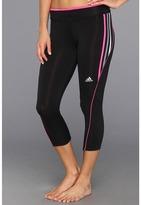 adidas Pink Ribbon Three-Quarter Tight (Black/Intense Pink) - Apparel