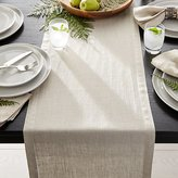 "Crate & Barrel Helena Dark Natural Linen 90"" Table Runner"
