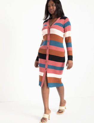 ELOQUII Striped Cardigan Sweater Dress