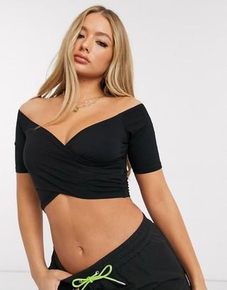 ASOS DESIGN wrap off shoulder crop top in black