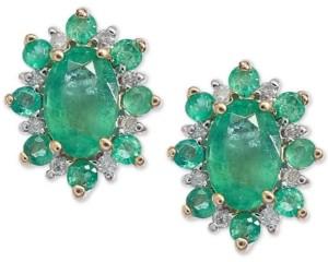 Macy's Emerald (1-1/4 ct. t.w.) & Diamond Accent Stud Earrings in 14k Gold