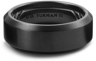 David Yurman Men's 8.5mm Beveled Edge Black Titanium Band Ring