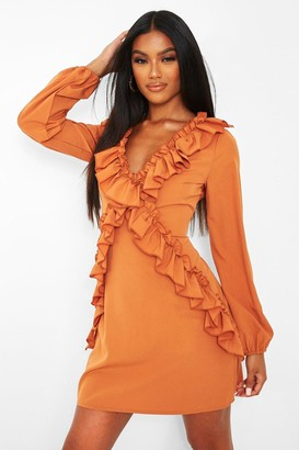 boohoo Ruffle Long Sleeve Shift Dress