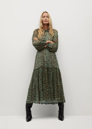 MANGO Animal print dress khaki - 4 - Women