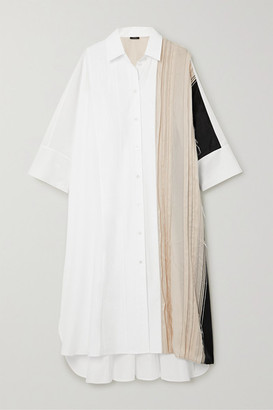 Joseph Dania Oversized Pleated Cotton-poplin And Cupro Midi Shirt Dress - Off-white