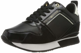 Tommy Hilfiger Leather Wedge Sneaker Womens Low-Top Sneakers