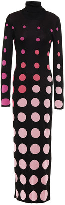 Paco Rabanne Polka-dot Intarsia-knit Maxi Dress