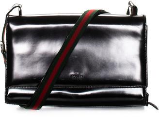 Gucci Black Spazzalato Leather Flap Bag