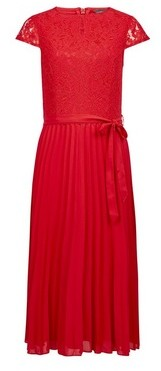 Dorothy Perkins Womens Red Lace Pleat Midi Dress, Red