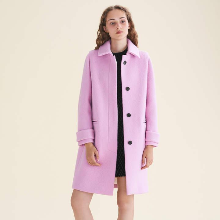 Maje Straight-cut coat in virgin wool