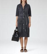 Reiss Chloe - Suede Shirt Dress in Blue, Womens