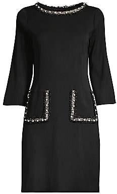 Misook Women's Imitation Pearl-Trim Knit Woven Shift Dress