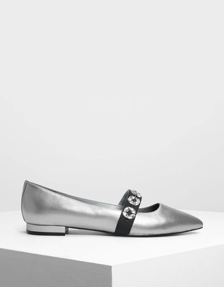 Charles & Keith Leather Bedazzled Mary Jane Flats