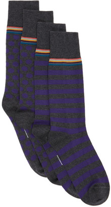 Paul Smith Two-Pack Grey and Purple Stripes and Dots Socks