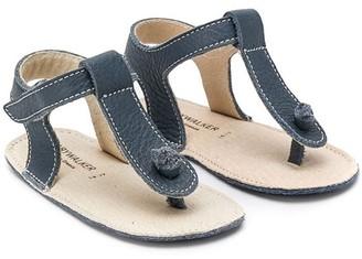 Babywalker contrast-stitching T-strap sandals
