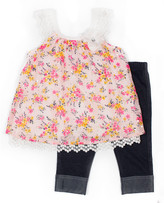 Little Lass Toddler Girls Layered Tulle Top and Crop Legging Set