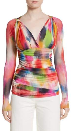 Fuzzi Brushstroke Print Ruched Tulle Top