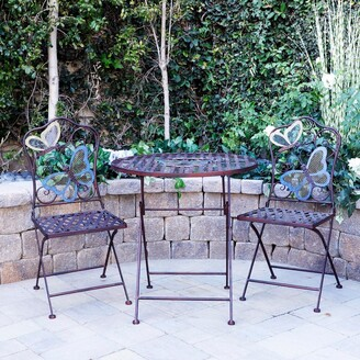 Alpine Corporation Indoor/Outdoor Butterfly Design 3-Piece Bistro Set Folding Table and Chairs Patio Seating