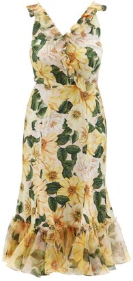 Dolce & Gabbana Camellia-print Ruffled Silk-blend Midi Dress - Yellow Multi