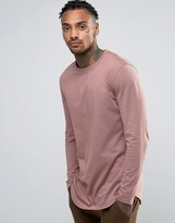 Asos Relaxed Longline Long Sleeve T-Shirt With Curve Hem In Pink