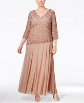 J Kara Plus Size Beaded V-Neck Gown