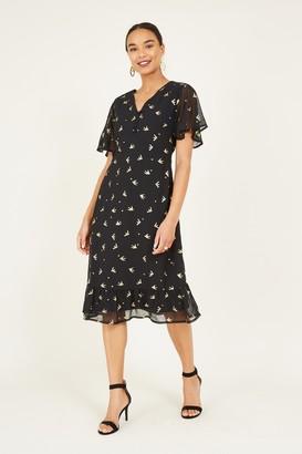 Yumi Black Foil Tea Dress