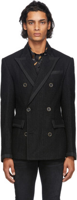 Amiri Black Wool Boucle Double-Breasted Blazer